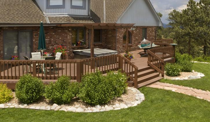 Outdoor deck featuring plastic composite wood decking