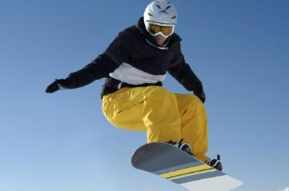 Athlete snowboarding