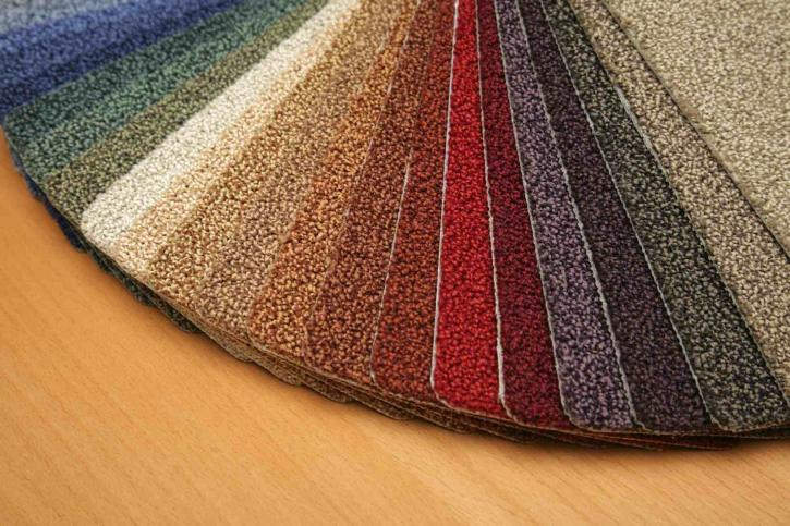 Carpet samples in different colors