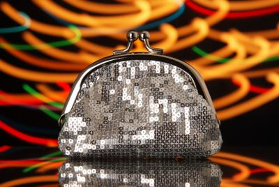 Silver sequined purse