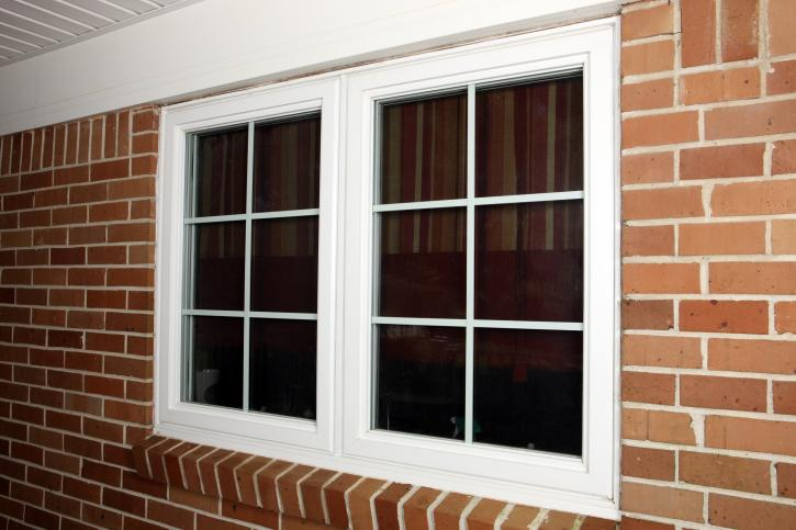 Vinyl white-framed double window