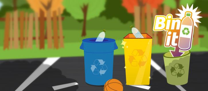 Bin It! 2.0 illustration of recycling bins