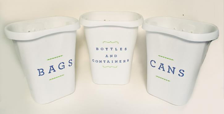 White plastic recycling bins