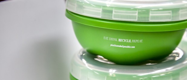 Green plastic food containers