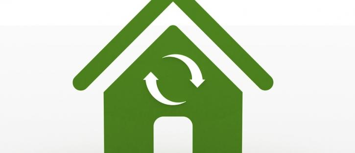 Icon of green house with recycle symbol