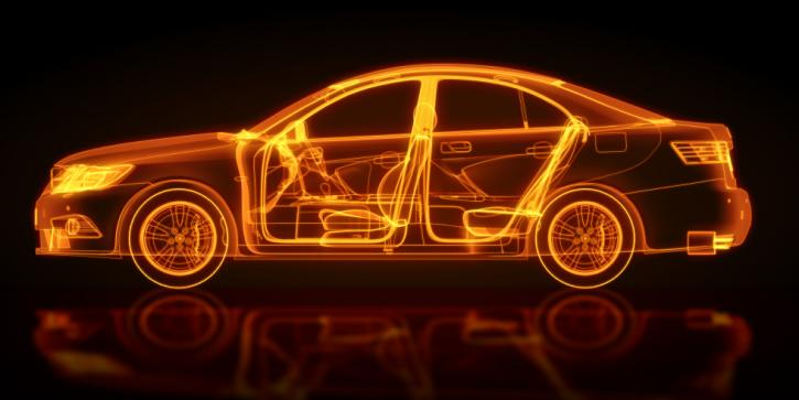 Digital glowing outline of a car