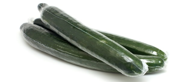 Plastic wrapped cucumbers