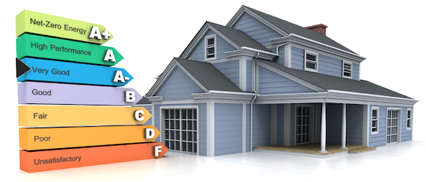 3d rendering of a house with a energy efficiency rating chart