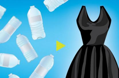Graphic of plastic water bottles next to a black dress