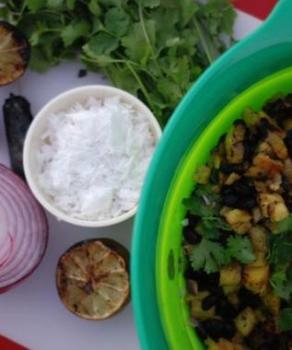 Fire Roasted Pineapple, Black Bean and Coconut Salsa Recipe