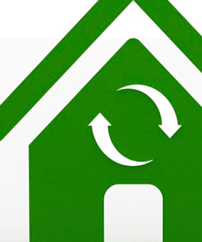 Green house icon with recycle logo
