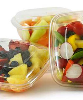 Fruit in plastic containers