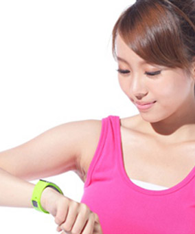 Women wearing a plastic exercise wearable