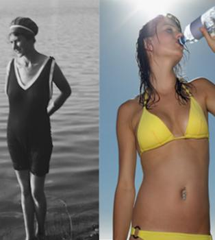 A comparison between women's swimsuits from two different time periods