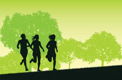 Illustration of people running against green background