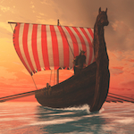 A Viking longboat sails to new shores for trading and companionship.