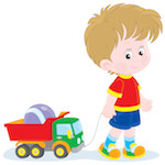 Illustration of child playing with toy truck