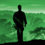 Silhouette of solder with green background
