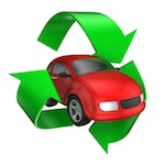 Red car with green recycle symbol