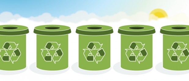 Illustration of green recycling bins