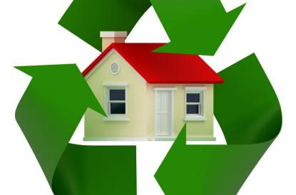 Illustration of home with the recycling symbol