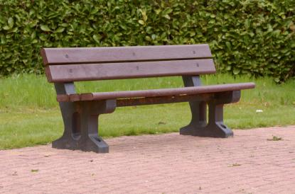 Recylced plastic bench in public space