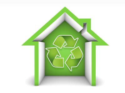 Green Home Icon: Manufactured symbol of a house to recycling.