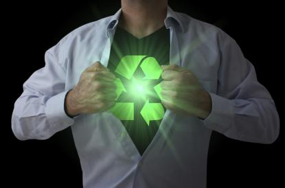Facing up businessman acting like a super hero and tearing his shirt off with luminous recycling symbol