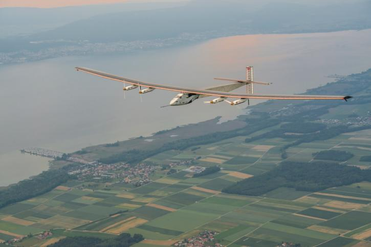 Airplane flying with solar panels