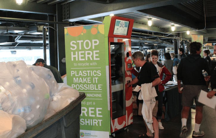 Plastic recycling machine at tradeshow