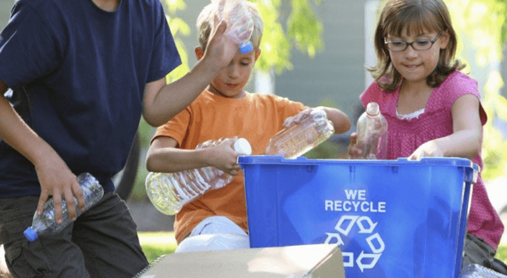 Kids recycling