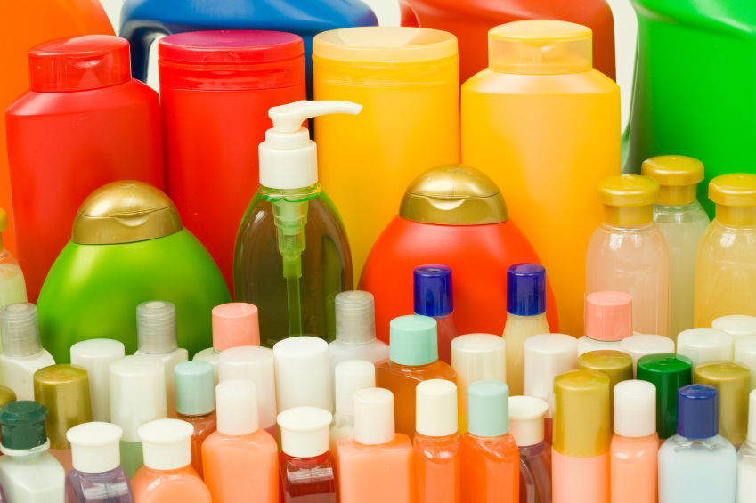 High-quality shampoo, conditioner, cream, detergent and soap in colorful bottles