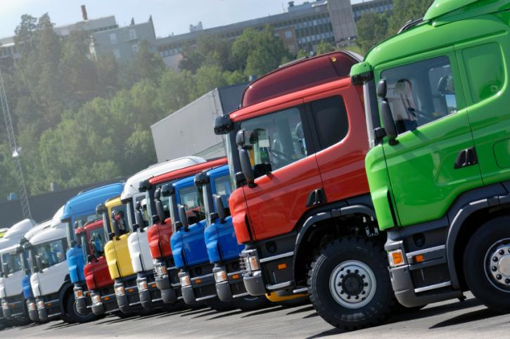 Row of multicolored trucks