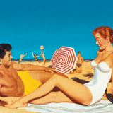 Old-fashioned illustration of couple at beach