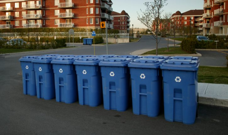 Row of Plastic Recycling Bins