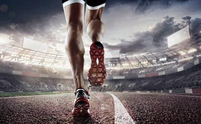 Sports background. Runner feet running on 3d render stadium closeup on shoe. Dramatic picture.