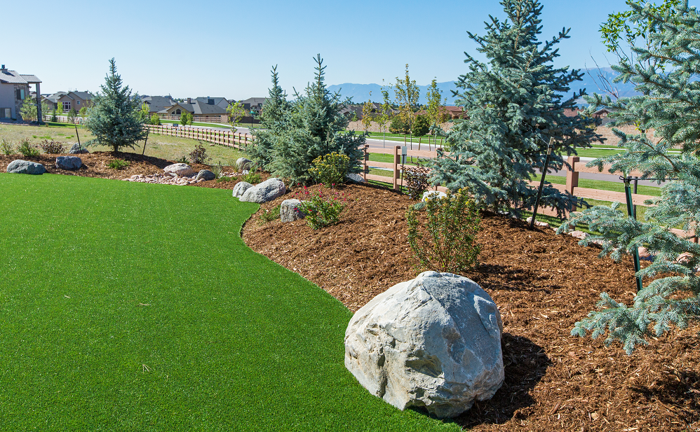 synthetic grass landscaping view