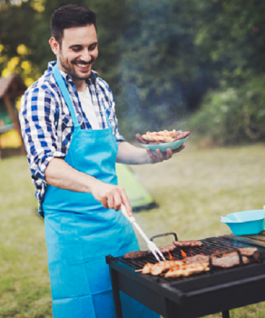 man grilling small