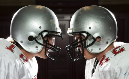football players, locking eyes