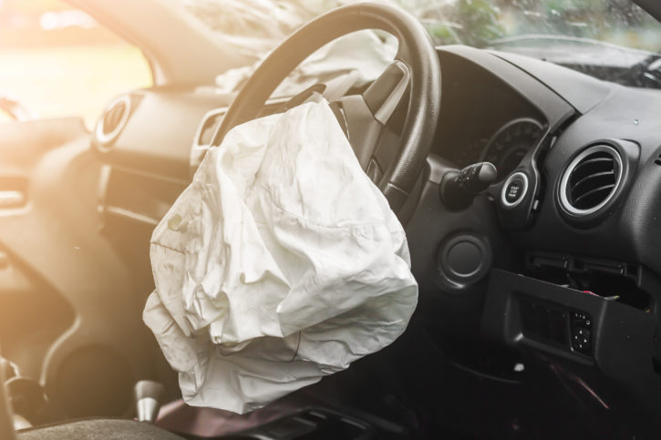 exploded airbag, car accident