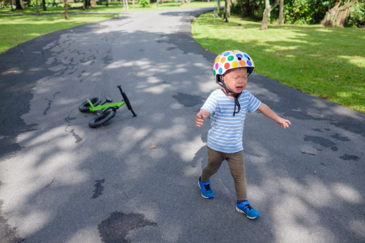 bike helmet, boy fell from bicycle